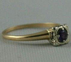 Gold silver engagement ring purple