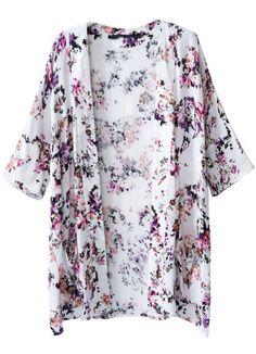 Kimono floral bolsillos manga media-blanco 12.17