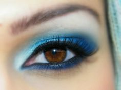 blue eye makeup for brown eyes close up