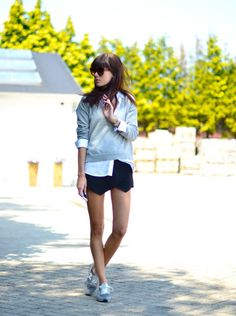 peoplewithstyles:    Sweater with zip back:ASOS/ White blouse: HM Trend / Skort: Zara / Sneakers: New Balance / Watch:Michael Kors/ Rings:ASOS/ Sunglasses:Céline via STYLEBOP.com[source: lovelybylucy]    Style For Women www.yourstyle-women.tumblr.com