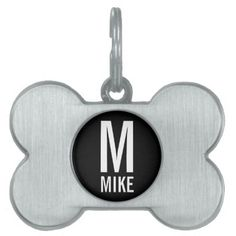 Custom Pet Name with Monogram Pet Name Tag - modern gifts cyo gift ideas personalize