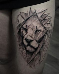 Sketched lion tattoo by Kamil Mokot