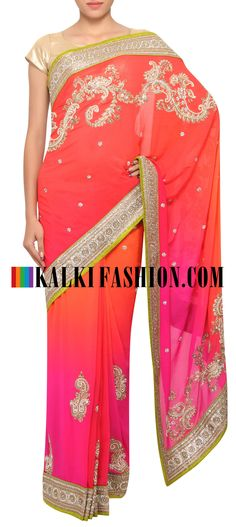 Buy Online from the link below. We ship worldwide (Free Shipping over US$100) http://www.kalkifashion.com/shaded-saree-in-orange-and-pink-adorn-in-zari-and-kundan-only-on-kalki.html
