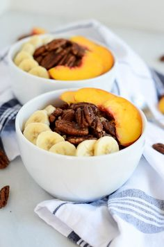 Banana Peach Breakfast Quinoa with Cinnamon Sugar Pecans | CaliGirl Cooking
