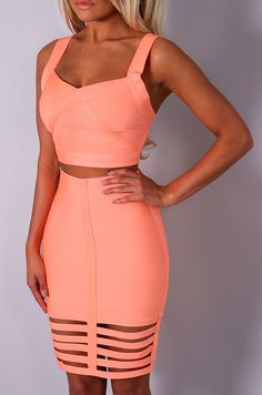 Pink Boutique VIP Cesari neon coral #bandage crop top http://www.pinkboutique.co.uk/new-in/vip-cesari-neon-coral-bandage-crop-top.html & VIP Dolci neon coral #bandage #skirt  http://www.pinkboutique.co.uk/new-in/vip-dolci-neon-coral-bandage-skirt.html #pinkboutique