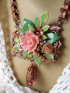 Antiqued Copper Book Chain Victorian Rosy Ox by MockiDesigns, $99.00