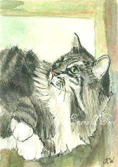 Custom pet portrait Original Watercolor - ACEO Size