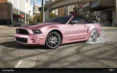 Wow....such a sleek pink and black Mustang convertible! jw