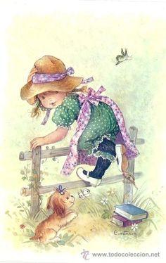 Vintage Big Eyed Girl ~ by Constanza Vintage Pictures, Vintage Images, Cute Pictures, Art Mignon, Holly Hobbie, Art Graphique, Cartoon Pics, Cute Dolls, Cute Illustration