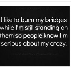 I like to burn my bridges while I'm still standing on them so people know I'm serious about my crazy. THey I don't think anyone doubts my Crazy Quotes To Live By, Me Quotes, Funny Quotes, Hater Quotes, Girly Quotes, The Words, Thats The Way, That Way, Haha Funny