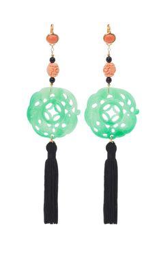 Kenneth Jay Lane 50th Anniversary jade tassel earrings