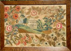 Sampler, Easton, PA circa 1830 Ralston School   This very large and colorful sampler is an excellent example of a group of samplers that were stitched at the Mary Ralston School in Easton, Pennsylvania. The large building in the center is the house where Mary Ralston ran her school