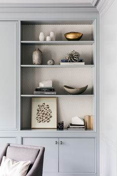 Gray built-in living room cabinets frame styled built-in shelves accented with g. Gray built-in living room cabinets frame styled built-in shelves accented with gray geometric wallpaper. Living Room Cabinets, Wall Cupboards, San Francisco Houses, Grey Shelves, Closet Remodel, Decoration Bedroom, Bookshelves Built In, Bookcases, Built Ins