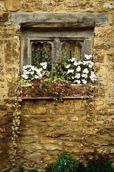 Old stone home with window box. Old Windows, Windows And Doors, Cottage Windows, Window View, Window Art, Through The Window, Old Stone, Old Doors, Stone Houses