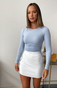 You don't have to tell us why to love the Tell me Knit Skirt White! Women's Fashion Dresses, Sexy Dresses, Girl Fashion, Cute Girl Outfits, Hot Outfits, Beach Outfits, Mini Skirt Outfits, Looks Pinterest, Sexy Skirt