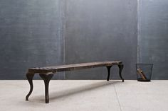 Industrial Steel and Wood Slat Bench : 20th Century Vintage Industrial : Modern Fifty