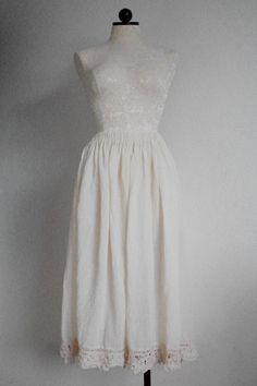 Vintage Hippie Boho Cream Lace Trim Gauze Skirt, $25.00