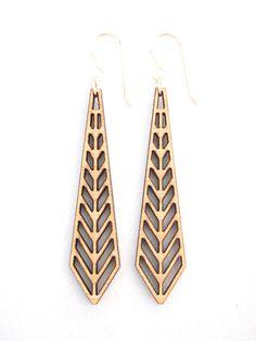 Chevron Laser Cut Earrings by foliadesignsf on Etsy, $46.00