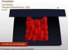 ¡Desarrollamos para usted diferentes tipos de cajas con corazones deseables hechos con la mejor y más intensa de chocolate con leche! Top Azul, Ice Tray, Chocolate Hearts, Milk, Gifts, Gifs, Boxes, Different Types Of, Shapes