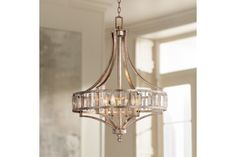 """Soft Silver 4-Light 24"""" Wide Crystal Chandelier - #EUW7027 - Euro Style Lighting"""