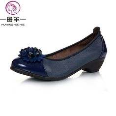 MUYANG MIE MIE 2017 Women Pumps Women Genuine Leather Wedge Single Shoes Woman Casual Wedges Fashion High Heels Women's Shoes