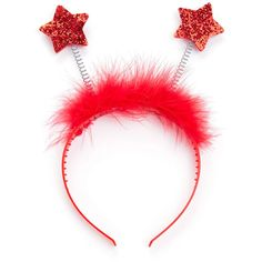 SheIn(sheinside) Faux Fur And Sequin Star Headband ($5) ❤ liked on Polyvore featuring accessories, hair accessories, head wrap hair accessories, fake fur headbands, red headband, sequin headbands and red hair accessories