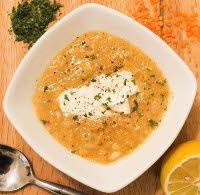 Syrian-Style Red Lentil Soup (did you know that the lovely salmon-colored red lentils turn dark yellow after cooking?)
