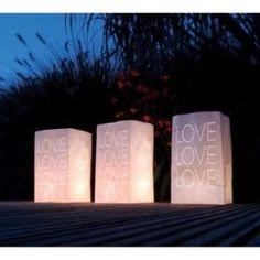 """5 Waxinelicht zakjes """"Love"""""""