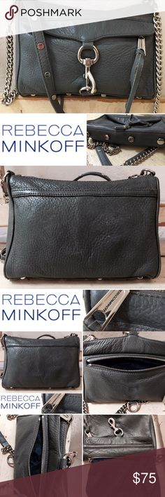 "REBECCA MINKOFF MAC LEATHER CROSSBODY GRAY Pre owned, very good condition. Normal wear. NO RIPS STAINS OR ODORS.Rebecca Minkoff MAC crossbody simplifies a day on the go with a fuss-free strap and easily accessible outside pocket. Leather with silver-tone signature hardware. Removable chain and studded leather crossbody strap; 22"" drop. Zip top with long leather pulls. Front zip pocket covered by lobster-clasp flap. Inside, two open pockets; fabric lining. Metal feet protect base of bag. 6…"