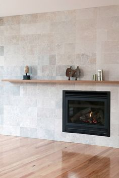 Modern travertine fireplaces have recently become very popular Fireplace Doors, Fireplace Ideas, House Cladding, Stone Fireplaces, Reno Ideas, Travertine, My Dream Home, Brighton, Outdoor Spaces