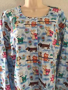 Women's Warm Up Jacket with Knit Cuffs Dental Theme w Animals Size Large   eBay