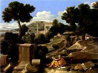 Poussin - Paysage avec saint Jean à Patmos -