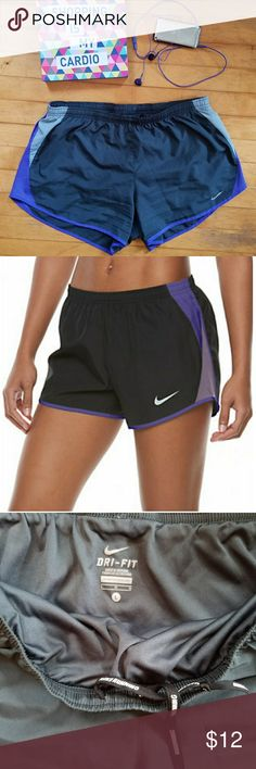 Nike Women's Dry Reflective Running Shorts Nike Women's Dry Reflective Running Shorts x2 Stay ahead of the competition with these women's Nike running shorts. Elastic waistband with inner drawcord provides personalized fit. Mesh insets enhance airflow. Curved hem delivers great range of motion. Reflective details help enhance visibility in low-light conditions. Nike Dry fabric keeps you comfortable and dry.  Black/ dark iris.  Green chevron/grey Size L . Excellent used condition. Nike Shorts