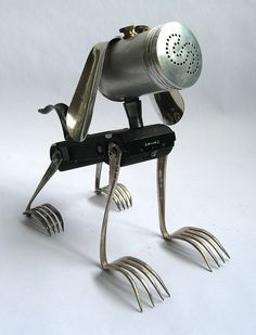 Utensil Doggie - Assemblage.  Boots - Robot Assemblage Sculpture by Brian Marchall