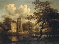 Meindert Hobbema (1638-1709) A River Landscape with a Ruined Building and Figures 1660s