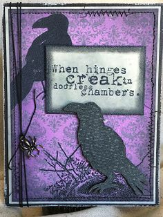 Ravens CMS310 Tim Holtz Halloween Stamps  Card Sample by Playswellwithpaper