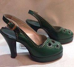 Amazing 40s Green Peep Toe Leather Platform Shoes