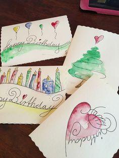 Karten selber gestalten – – Rebel Without Applause Diy Birthday, Birthday Cards, Design Your Own Card, Karten Diy, Happy Paintings, Watercolor Cards, Watercolor Design, Art Plastique, Diy Cards