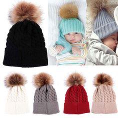 987d48c0080 Newborn Cute Winter Baby Hat Fur Ball Pompom Cap Kids Girl Boy Winter  Knitted Wool Hats Caps for Girls Hemming Hat Beanies
