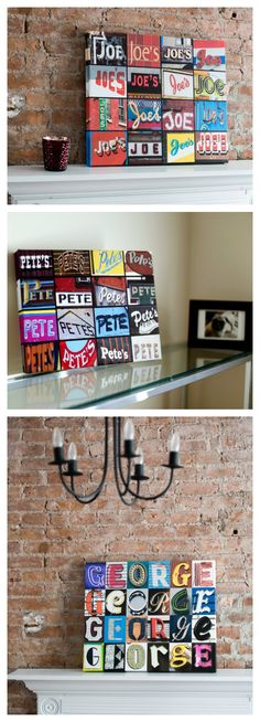 Custom wall art featuring names in photos of signs or sign letters! Makes a great housewarming gift, and also perfect for room and dorm decor! Modern Kitchen Lighting, Sign Letters, Letter Photography, Homemade Art, Personalized Photo Gifts, Home Goods Decor, Name Gifts, Custom Wall, Photo Canvas