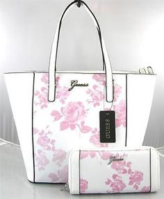 AUTHENTIC NEW NWT GUESS SONJA PINK WHITE TOTE BAG PURSE & WALLET