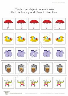 """In the """"Object Facing Different Direction"""" worksheets, the student must identify which one of the five objects in each row is facing a different direction. Learning For Life, Visual Learning, Worksheets, Student, Comics, Leaves, Objects, Activities, Comic Book"""