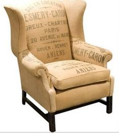 Perfect chair to go with leather sofa and ticking seat cushions.....my upholsterer is going to be busy....OH ROSE!!!