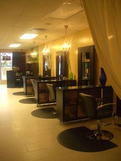 <3 and put a big mirror on top of each counter to further divide the stylist or barbers.