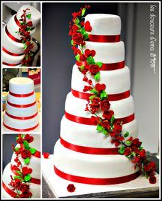 Red Green White Wedding Cake Cakes Elegant Tuxedo