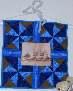 Old-time ship art quilt made for Mini Art Quilt Swap 3 on Craftster
