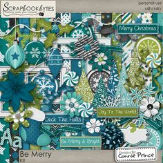 Digital Scrapbook Kit, Be Merry by Connie Prince