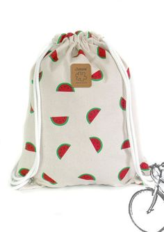 Watermelon Backpack, Canvas bag, 2 pocket inside + cotton fabric lining or waterproof fabric lining Handmade Handbags, Handmade Bags, Wet Bag, Cute Backpacks, String Bag, Cute Bags, Waterproof Fabric, Handbag Accessories, Drawstring Backpack