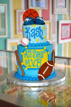 Sports themed All Star Baby Shower Cake www.LeahsSweetTreats.com