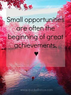 Small opportunities are often the beginning of great achievements. ♥ #Business #Quote